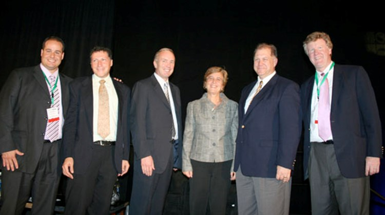 The President's Panel (from left): Frank Marini, VP of sales, Collette Vacations; Arnie Weissmann, VP and editor in chief, Travel Weekly; Dan Hanrahan, president and CEO, Celebrity Cruises; Jackie Friedman, president and GM, Nexion; Mike Going, president, Funjet Vacations; and Dan Sullivan, president, Collette Vacations.