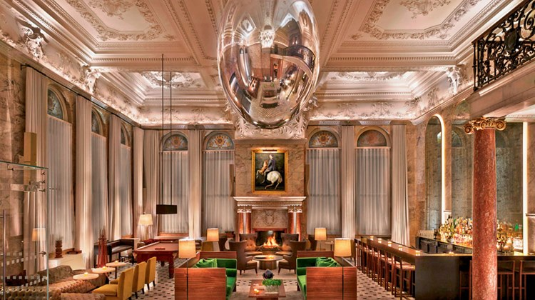 The lobby at the London Edition.