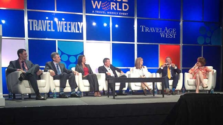 "The ""Travel: An Addictive Industry"" panelists, from left: Ken Muskat of MSC Cruises USA, Mark Kammerer of Holland America Line, Dondra Ritzenthaler of Celebrity Cruises, Andy Stuart of Norwegian Cruise Line, Vicki Freed of Royal Caribbean International, Chris Austin of Starwood Hotels and Resorts and Joni Rein of Carnival Cruise Lines. TW photo by Rebecca Tobin"