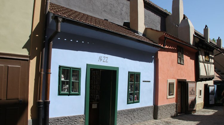 Golden Lane on Prague's Castle Hill. Kafka lived in many places, including the blue house here, No. 22.