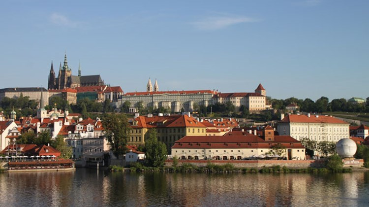 Prague's Castle Hill seen under early-morning light.