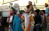 An Indian groom rides to his wedding in Jaipur.