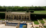 The lobby deck of the Oberoi Amarvilas, with the Taj Mahal in the background.