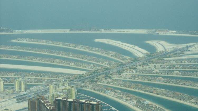 An aerial view of Dubai's man-made Palm Island.