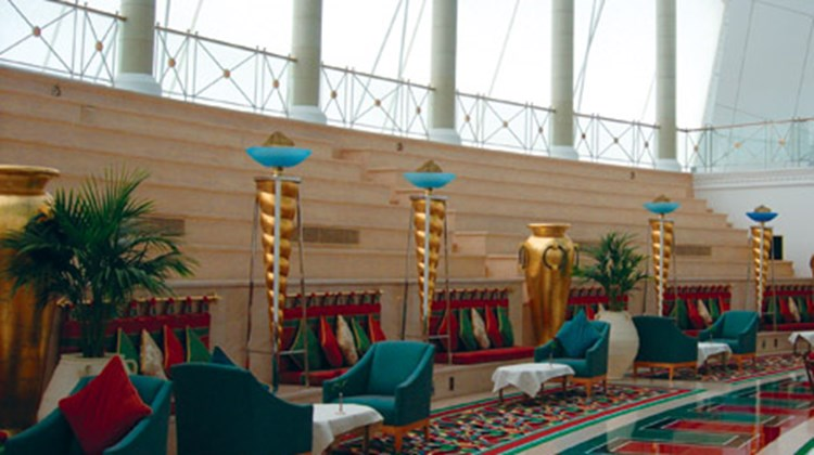 Inside the Burj al-Arab, built just off the beach on Dubai's first man-made island: one of the hotel's lobby areas.