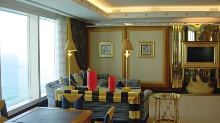 The living area inside a suite at the Burj al-Arab.