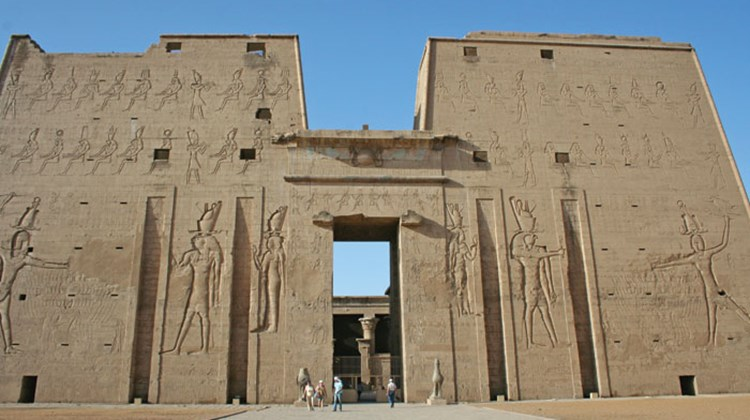 A smattering of tourists at the Temple of Edfu.