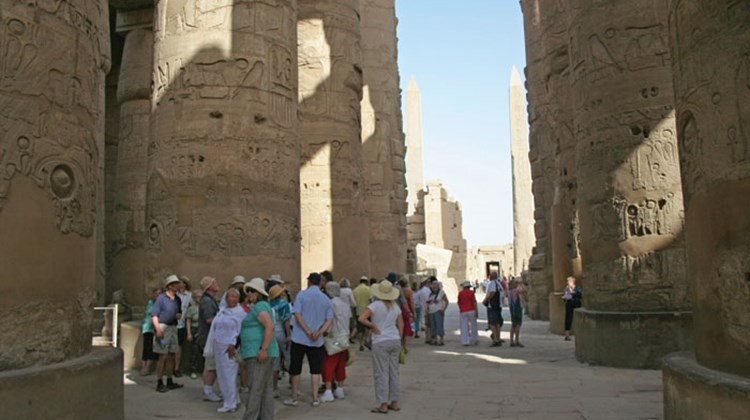There were more tourists present at the Karnak Temple.