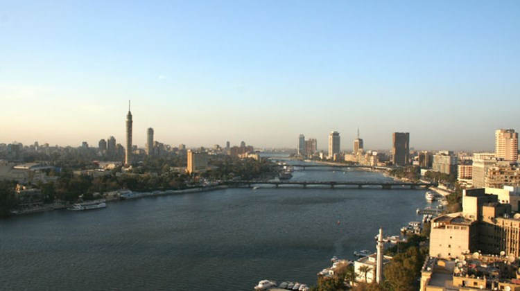The sun setting over the Nile River in Cairo, where business seemed headed back to normal.