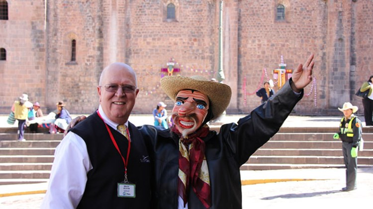 Members of Tourism Cares traveled to Peru in May for its first Global Outreach program. The group met with members of Peru's travel industry in Cuzco, followed by a day in the Inca Sacred Valley, a visit to Machu Picchu and a restoration project back in Cuzco. Pictured here, Bruce Beckham, CEO of Tourism Cares, and the rest of the visiting Americans were greeted in Cuzco by a troupe of costumed entertainers. Photos by Arnie Weissmann