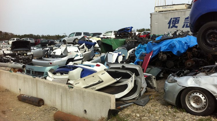Parts salvaged from tsunami-damaged cars. Photo by Arnie Weissmann