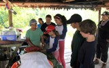 The children on the trip helped prepare lunch at a local village.