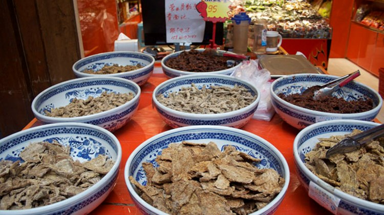 Dried beef at a local market in Chongqing, a specialty of the central China region.