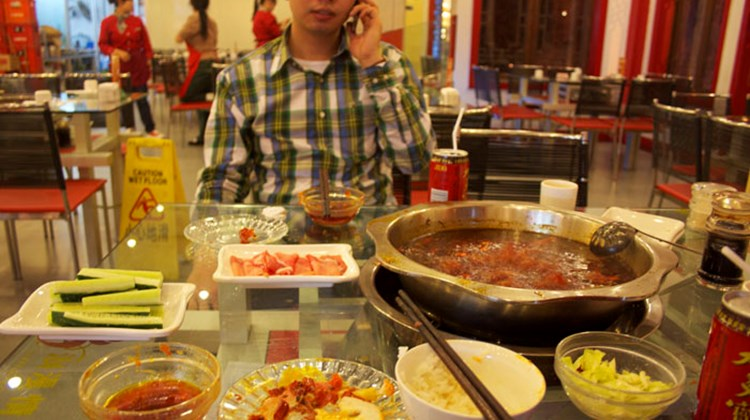 A hot pot meal in Chongqing.