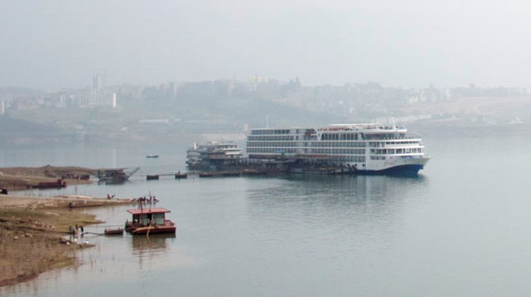Senior editor Michelle Baran was onboard for the inaugural cruise of Century Cruises' Century Paragon from Chongqing to Yichang. Pictured here, the 398-passenger Century Paragon docked on the Yangtze River. Photos by Michelle Baran; posted March 28, 2013.