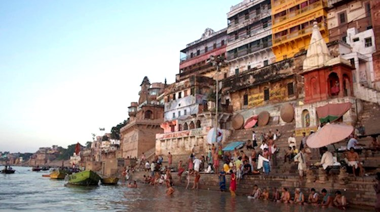 Spiritual morning bathing ritual in the holy city of Varanasi.
