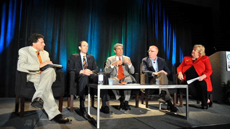 On the cruise line CEO panel, second from left, Adam Goldstein, CEO of Royal Caribbean International; Rick Sasso, MSC Cruises USA CEO; and Kevin Sheehan, CEO of Norwegian Cruise Line answered questions from Travel Weekly Editor in Chief Arnie Weissmann, far left, and Kathy Sudeikis, vice president of All About Travel.
