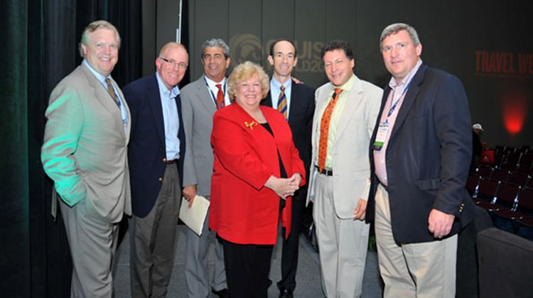 Tom Kemp, chairman and CEO of Northstar Travel Media, Travel Weekly's parent company; Kevin Sheehan, Norwegian Cruise Line; Rick Sasso, MSC Cruises; Kathy Sudeikis, All About Travel; Adam Goldstein, Royal Caribbean; Arnie Weissmann, Travel Weekly editor in chief; and Bob Sullivan, Travel Weekly publisher, at the opening keynote session of CruiseWorld.