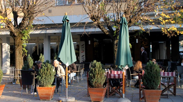 A sidewalk cafe on the pedestrian street, Mother Teresa Street in Pristina.