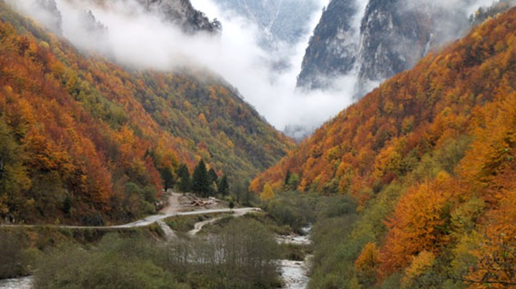 Autumn in Rugova Gorge in the mountains outside of Peja, Kosovo.