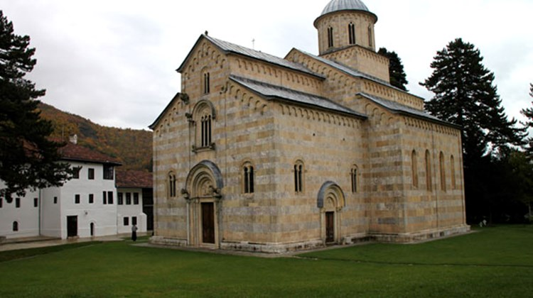 The church at the heart of the Serbian Orthodox Decani Monastery near Peja. Its interior walls are covered with more than 1,000 frescoes dating from the 14th century.