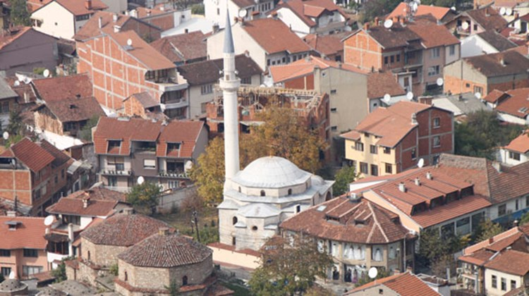 The Emin Pasha Mosque, seen from the hilltop fortress that overlooks Prizren, Kosovo.
