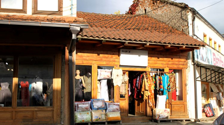 One of the many shops rebuilt in Gjakova after Kosovo's 1999 war with Serbia. The entire bazaar was destroyed and rebuilt.