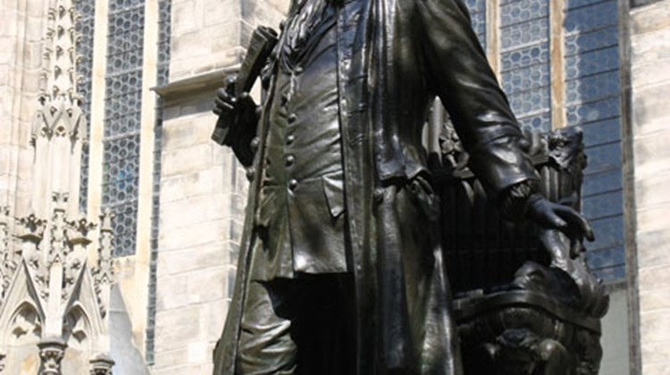 Johann Sebastian Bach stands proudly on his pedestal outside Leipzig's St. Thomas Church, where he was choirmaster for the boys' choir.