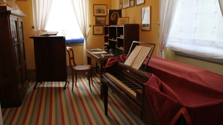 A room where composer Felix Mendelssohn worked. The composer died in this Leipzig apartment in 1847 and his last home is now a museum.