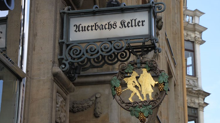 "Signage for the popular Auerbachs Keller, a wine bar that Goethe made famous when he used it as a setting for a scene in his drama, ""Faust."""