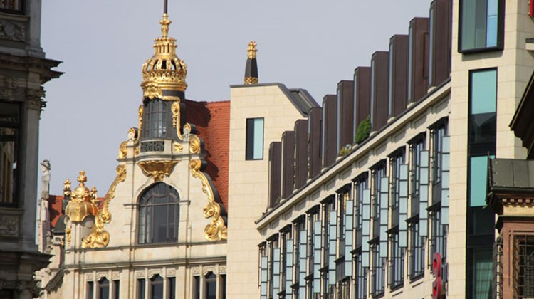 Buildings in Leipzig reflect a diversity of architectural styles, even in the historic center of town.