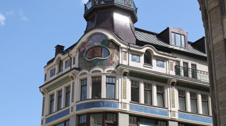 The Riquet building, a historic coffee house in Leipzig's Old Town.