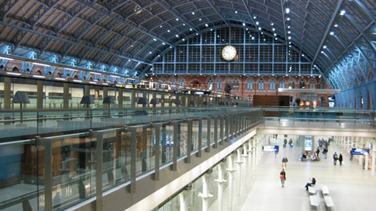 A nearly deserted St. Pancras International rail station awaits passengers for the first Paris-bound Eurostar departure of the day.
