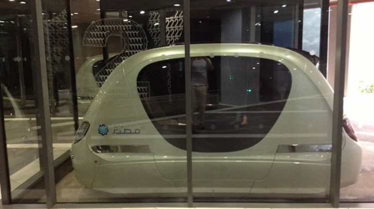 One of the driverless solar powered cars that move people short distances (for now) around Masdar City.