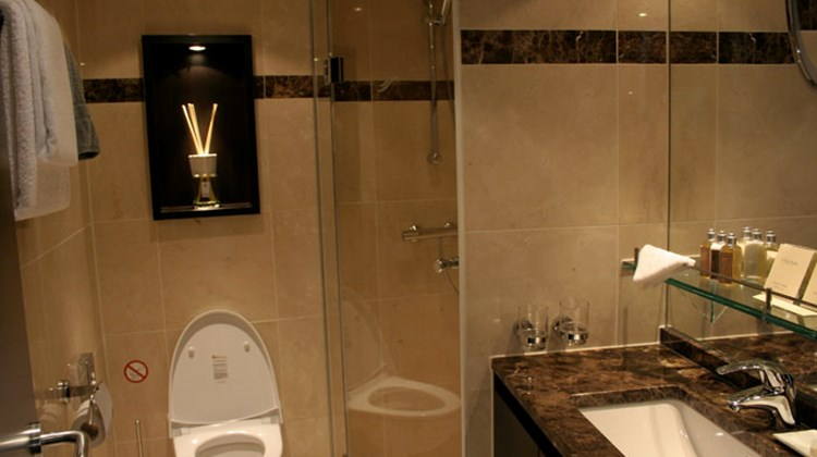 The Panorama Suites feature a marble bathroom with standing shower.
