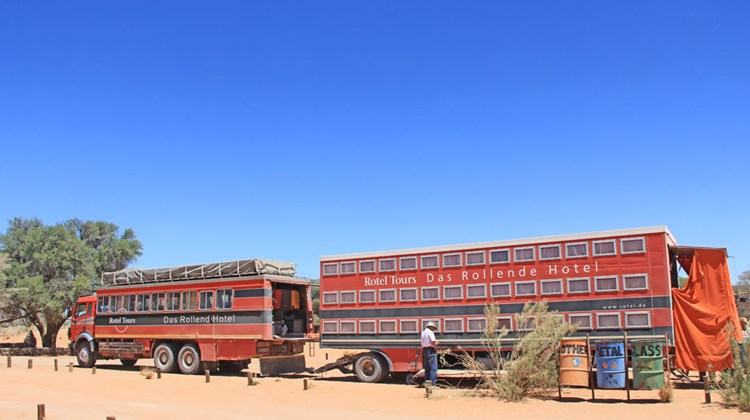 "How they roll: A German tour operator provides a ""rolling hotel"" in Namib-Naukluft National Park."