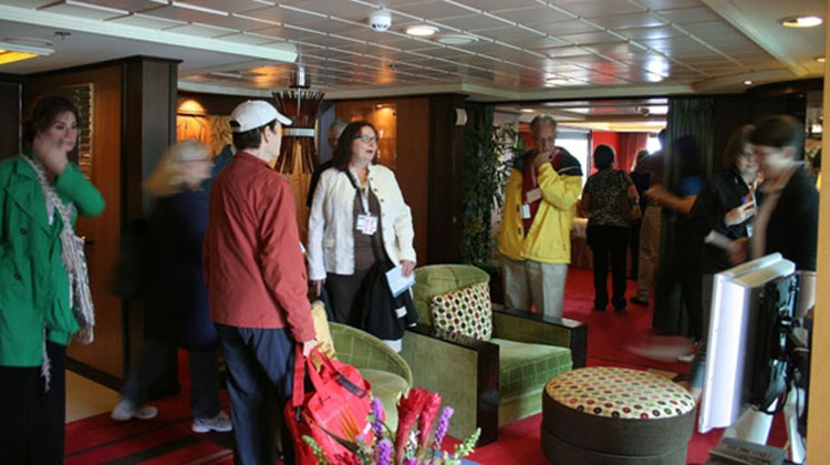 Travel agents participating in ship inspections toured an owner's suite aboard the Norwegian Jewel as it was docked in Seattle. Photo by Michelle Baran
