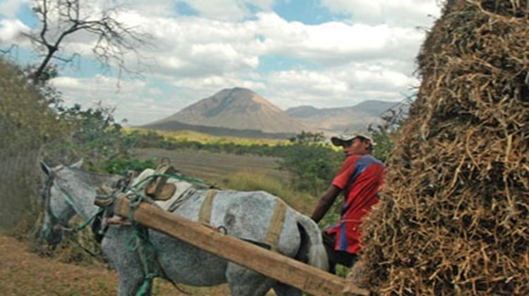 Horse-drawn wagons -- and volcanoes -- are a common sight in Nicaragua.
