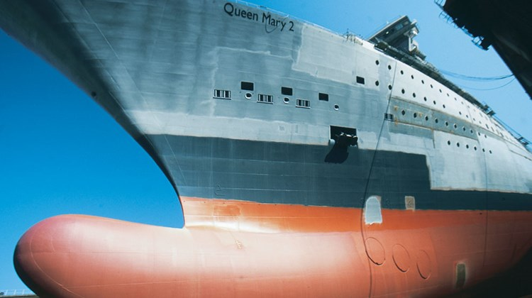The Queen Mary 2 under construction in Saint-Nazaire, France. The ship was delivered in December 2003.