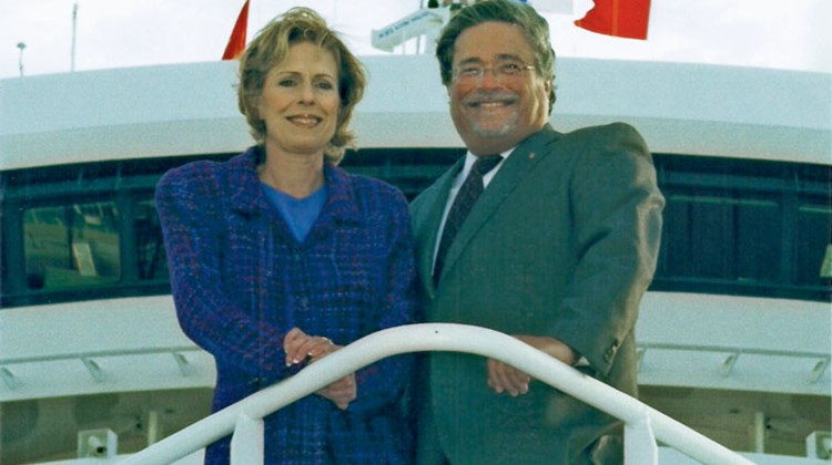 Pamela Conover and Micky Arison on the bow.