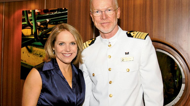 Katie Couric with Commodore Christopher Rynd in 2007.