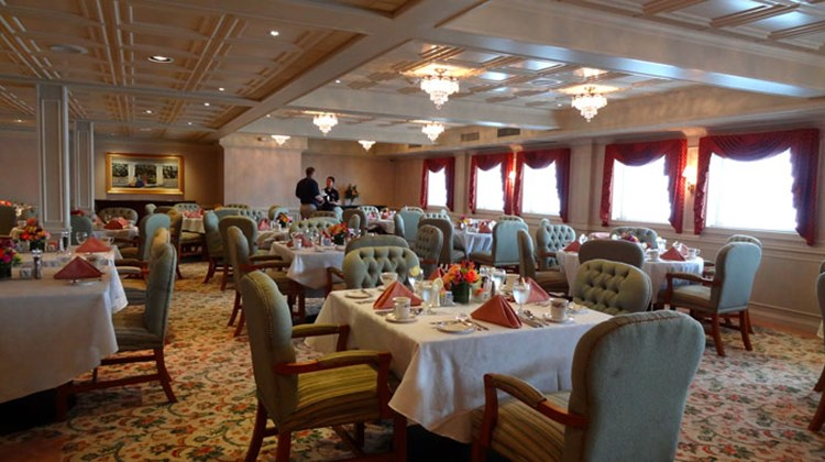 The vessel has one main dining room on Deck 1 that can fit all passengers at once, and offers open seating.