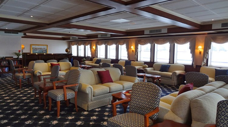 The Magnolia Lounge on Deck 2, the largest of the vessel's three lounges, could fit all passengers at one time.