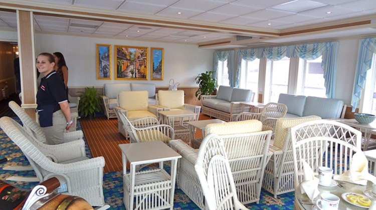 The Lounge on Deck 4, a bright space with white wicker furniture that leads to an outdoor sitting area, has yet to be named. In the afternoon, guests are treated to coffee, pastries and fruits here.