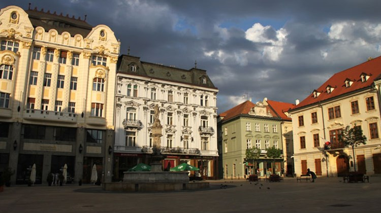 The main square in the heart of Bratislava's Old Town.