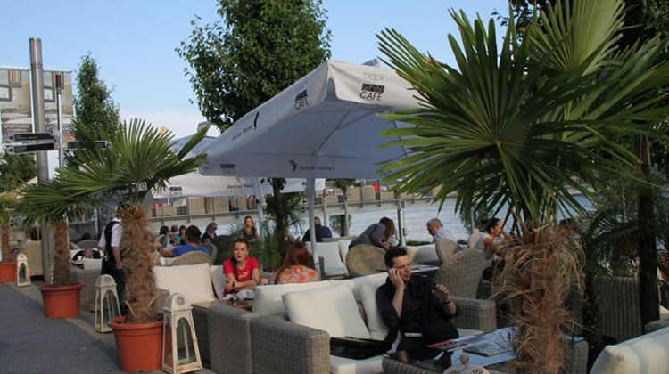 Outdoor cafes line the recently redeveloped Danube riverside in Bratislava, the Slovak capital.