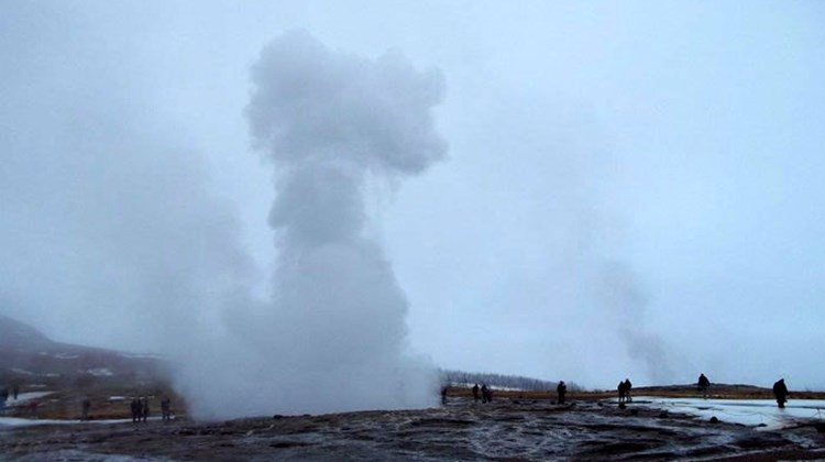 The geyser known as Strokkur shoots geothermal water 45 to 90 feet high every 4 to 8 minutes.