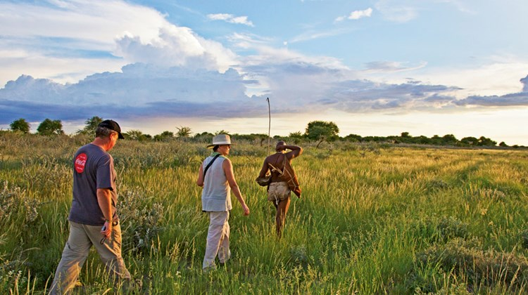 A Bushman Walk at Kalahari Plains Camp in Botswana. Photo by Caroline Culbert/Wilderness Safaris