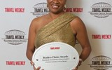 Lorine Charles-St.Jules of the St. Lucia Tourist Board celebrated the island's first win in the Caribbean category.