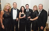From left: Donna Blake and Brent Blake, co-president of All About Travel in Mission, Kan., join Melissa Daiello and Isaac Cymrot of Travel Insured, and Jackie Davis and Gary Davis, also co-president of All About Travel, for pre-awards cocktails.
